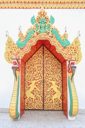 Archway of Wat Phra That Chong Kham temple Mae Hong Son Province, Thailand