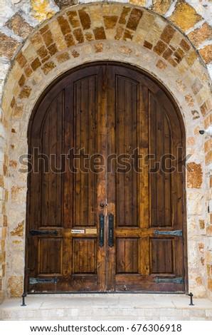 archway wooden doorway leading...