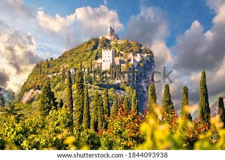 Arco castle ruins on cliffs above Garda lake, Trentino Alto Adige region of Italy Foto d'archivio ©