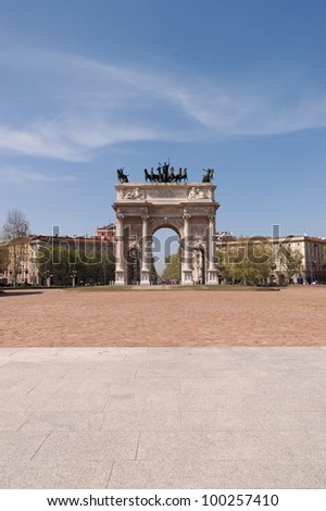 Arco della Pace in Piazza Sempione (Arch of Peace in Simplon Square). It is a neoclassical triumph arch, 25 m high and 24 m wide, built between 1807 and 1838.