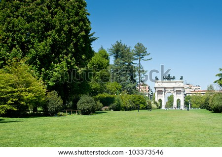 Arco della pace in the gardens of parco Sempione, Milan, Italy. - stock photo