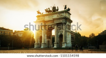 """Arco della Pace or """"Arch of Peace"""" in Milan, Italy, built as part of Foro Bonaparte to celebrate Napoleon's victories. It is city gate of Milan located at center of Simplon Square in Milan, Italy."""
