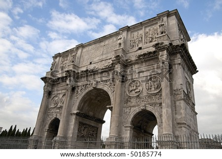 Arco Di Costantino (Arch of Constantine) in Rome, Italy. erected to commemorate Constantine I's victory over Maxentius at the Battle of Milvian Bridge, October 28, 312.