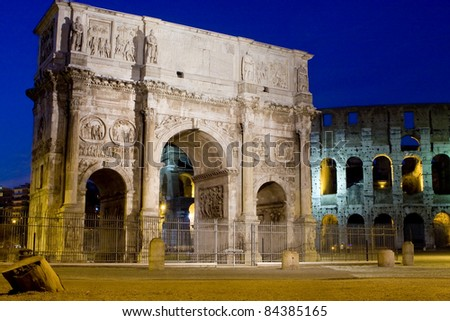 Arco Di Costantino (Arch of Constantine) in Rome seen from the Colosseum, Italy