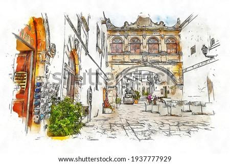 Arco Scoppa, 17th century arch in the historic center of Ostuni, Puglia, Italia, watercolor sketch illustration. Foto stock ©