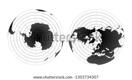 Arctic and antarctic poles globe hemispheres. World map view from space on white
