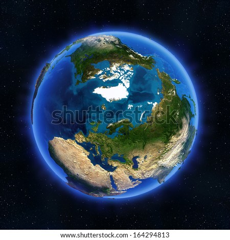 Arctic and Russia globe. Elements of this image furnished by NASA