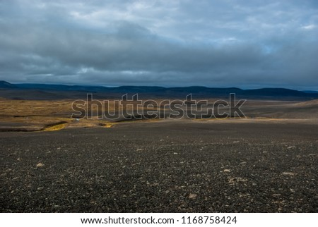 Arctic autumn  tundra  and black desert in the central wasteland in Iceland. Central highlands.  Road to Askja volcano. September.  #1168758424