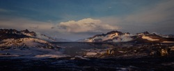 Arctic 3D environment in the afternoon. Panoramic landscape