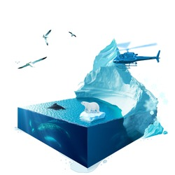 Arctic. 3d isometric. The file contains a path for cutout