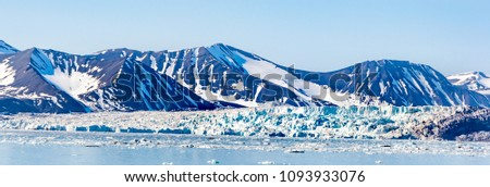 Arctic landscape,panoramic view to glacier and mountains with snow , Spitsbergen, Svalbard, Norway, wide format Сток-фото ©