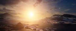 Arctic sunset 3D environment. Mountains, rocks and sea make up the landscape. Panoramic landscape