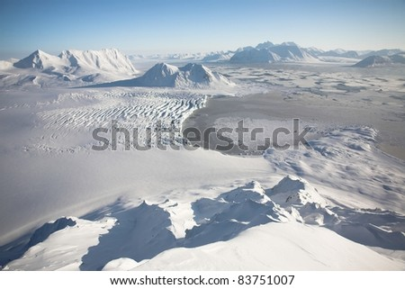 Arctic winter landscape - view from the mountains - Svalbard