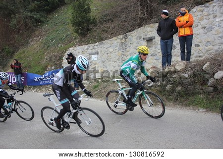 "ARDECHE, FRANCE - FEB 24: David Arroyo and Joel Zangerle riding ""LES BOUCLES DU SUD ARDECHE"" UCI Europ Tour. Matthieu Drujon won the race on February 24, 2013 in Sampzon Rock, Ardeche, France."