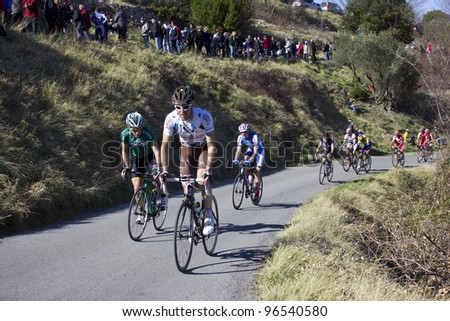 "ARDECHE, FRANCE - FEB 26: Professional cyclist Sylvain Georges racing the UCI Europ TOUR ""LES BOUCLES DU SUD ARDECHE"". Remi Pauriol wins the race on February 26, 2012 in Sampzon Rock, Ardeche, France."