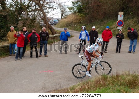 "ARDECHE, FRANCE - FEB 27: Professional racing cyclist rides UCI Europ TOUR ""LES BOUCLES DU SUD ARDECHE"" on February 27, 2011 in Sampzon Rock, Ardeche, France."