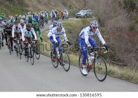 "ARDECHE, FRANCE - FEB 24: Thibaut Pinot & Yoann Offredo FDJ Team riding ""LES BOUCLES DU SUD ARDECHE"" UCI Europ Tour. Matthieu Drujon won the race on February 24, 2013 in Sampzon Rock, Ardeche, France."