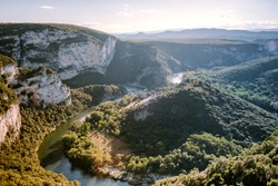 Ardeche France,view of Narural arch in Vallon Pont D'arc in Ardeche canyon in France. Europe