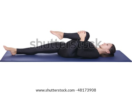 Ardha Pavana Muktasana - Half Wind Relieving Pose Stock Photo ...