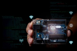 Arduino control micro processing photo concept with infographic details