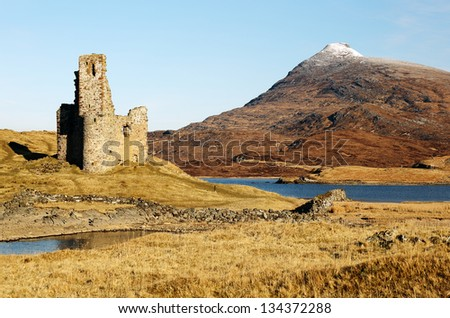 Ardvreck Castle ruin and the snow capped mountain Quinag. Assynt, Scotland
