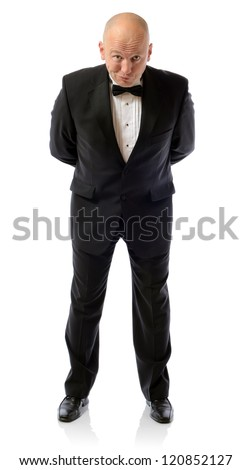 are you sure about that, concept of non belief man in tuxedo isolated on white
