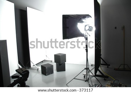 area of a photo studio with light, flats and boxes