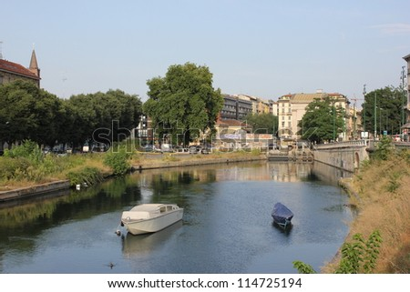 Area of Navigli April, canal waterway in Milan, Italy
