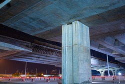 Area view Under the bridge construction site at night