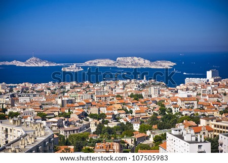 areal view on Marseille from mountian in city where is a church Notre Dame De La Garda, France