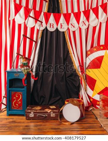 arena circus clown drum suitcase.Interior. #408179527