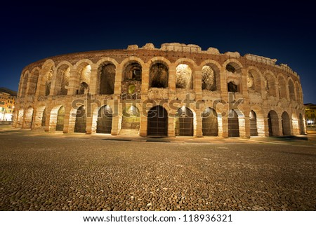 Arena di Verona by Night - Italy / Arena of Verona at night, World Heritage, I-III century - Roman amphitheater - stock photo
