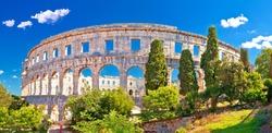 Arena Pula historic Roman amphitheater panoramc green landscape view, Istria region of Croatia
