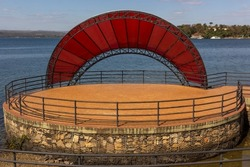 Arena theater and stage located on the edge of the beach in Rifaina, Brazil