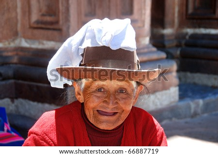 AREQUIPA PERU-NOVEMBER19::Portrait of Quechua old woman dressed in traditional clothing, Arequipa, Peru on November 19, 2010