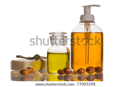 Argan oil with fruits and cosmetic products