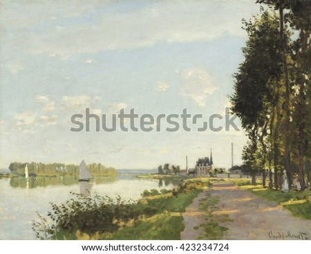 Argenteuil, by Claude Monet, 1872, French impressionist painting, oil on canvas. Monet painted the Seine River at Argenteuil, eleven kilometers to the northwest of Paris