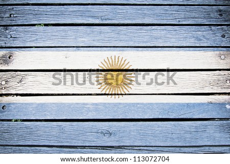 argentina, argentine flag painted on old wood plank background