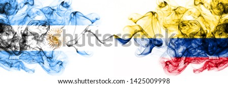 Argentina, Argentinian, Colombia, Colombian, competition thick colorful smoky flags. America football group stage qualifications match games #1425009998