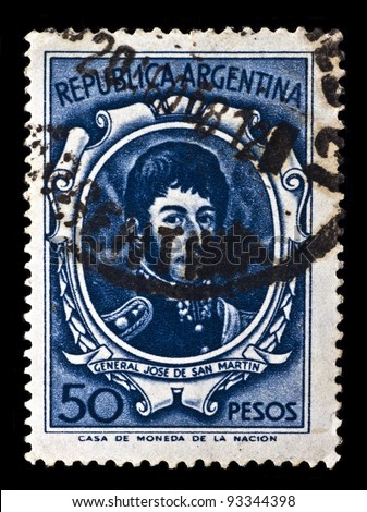 ARGENTINA - CIRCA 1954: A stamp printed by Argentina, shows General Jose De San Martin, circa 1954