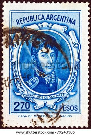 ARGENTINA - CIRCA 1970: A stamp printed in Argentina shows General Jose de San Martin, circa 1970.