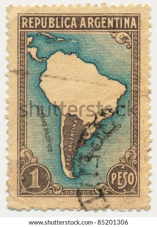 ARGENTINA - CIRCA 1936: A stamp printed in Argentina, shows Map of South America, circa 1936