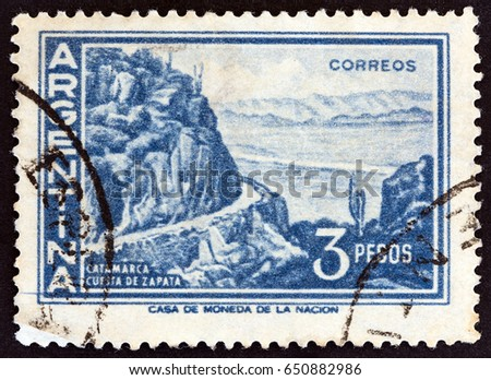 argentina   circa 1959  a stamp ...