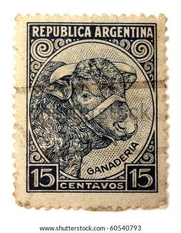 ARGENTINA - CIRCA 1935: A stamp printed in The Argentina shows  image of an Bull, Argentina, circa 1935