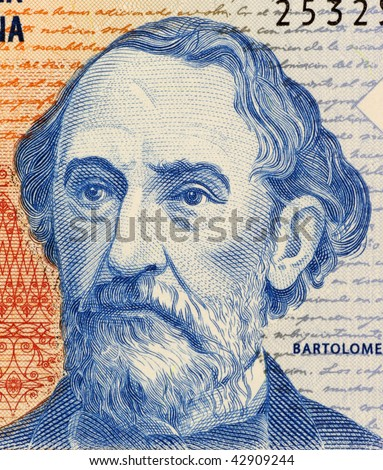 ARGENTINA - CIRCA 1997: Bartolome Mitre on 2 Pesos 1997 Banknote from Argentina. Statesman, author, military figure and president during 1862-1868.