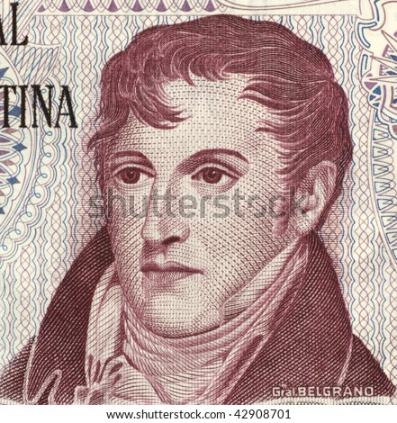 ARGENTINA - CIRCA 1976: Manuel Belgrano on 10 Pesos 1976 Banknote from Argentina. Military leader, politician, economist and lawyer.