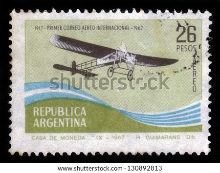 Argentina - CIRCA 1967: stamp printed by Argentina, shows retro airplane, early 20 th century, dedicated to the 50th anniversary of airmail, circa 1967