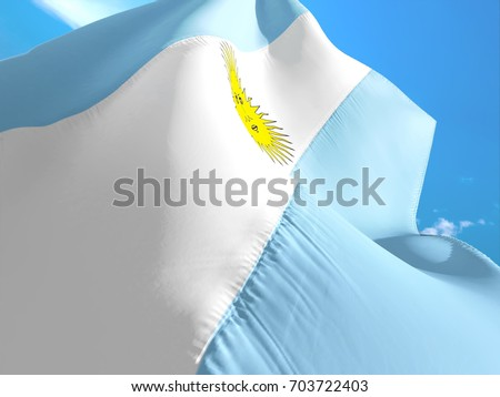 Shutterstock Argentina flag. 3D Waving flag design. White, blue and yellow flag.The national symbol of Argentina. Argentinian National colors. National sign of Argentina for background. Argentinian flag on texture