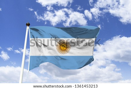 Argentina flag mockup in the wind. The symbol of Argentina. The flag of Argentina as a symbol. Argentina State Flag.  #1361453213