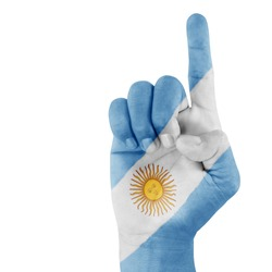 Argentina flag on hand with a white background.